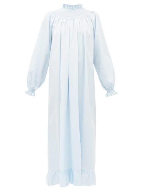 Loretta Caponi - Shirred Swiss Dot Cotton Poplin Dress - Womens - Light Blue
