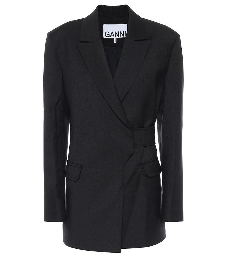 Ganni Wool-blend blazer in blue