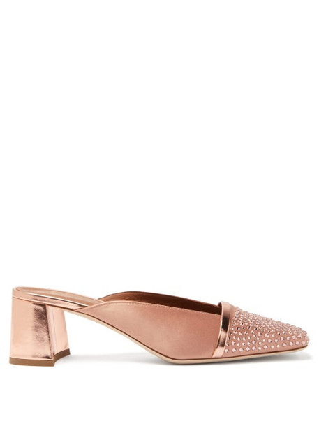 Malone Souliers - Carmen Crystal-embellished Satin Mules - Womens - Nude