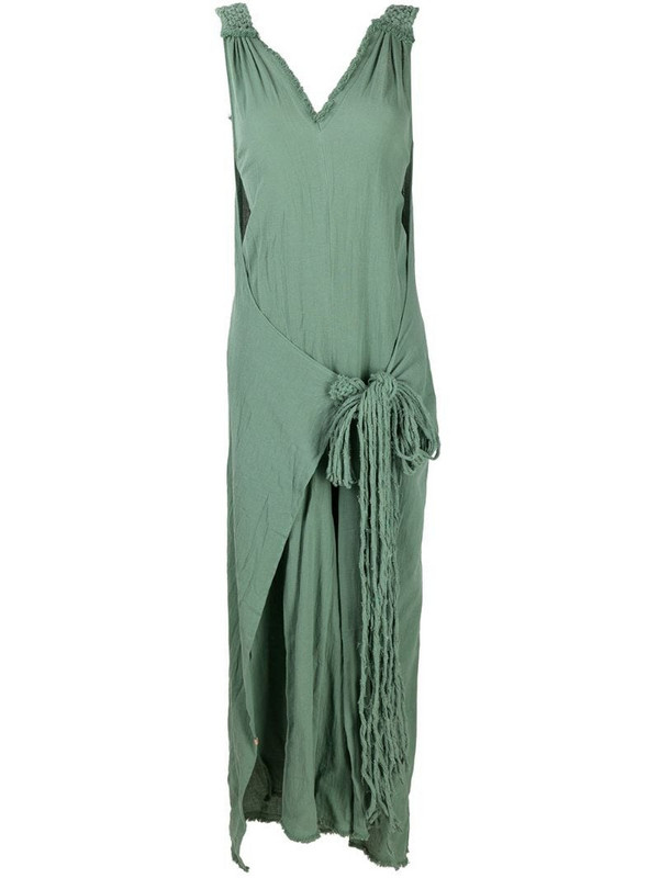 Caravana tie-front cotton jumpsuit in green