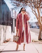 shoes,suede pumps,jimmy choo,white pants,shoulder bag,teddy bear coat,pink coat,white sweater,turtleneck sweater