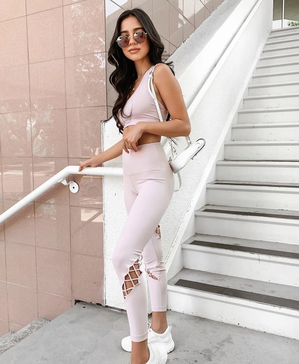 pants gym gym clothes gym leggings light pink pink sunglasses shoes white sneakers