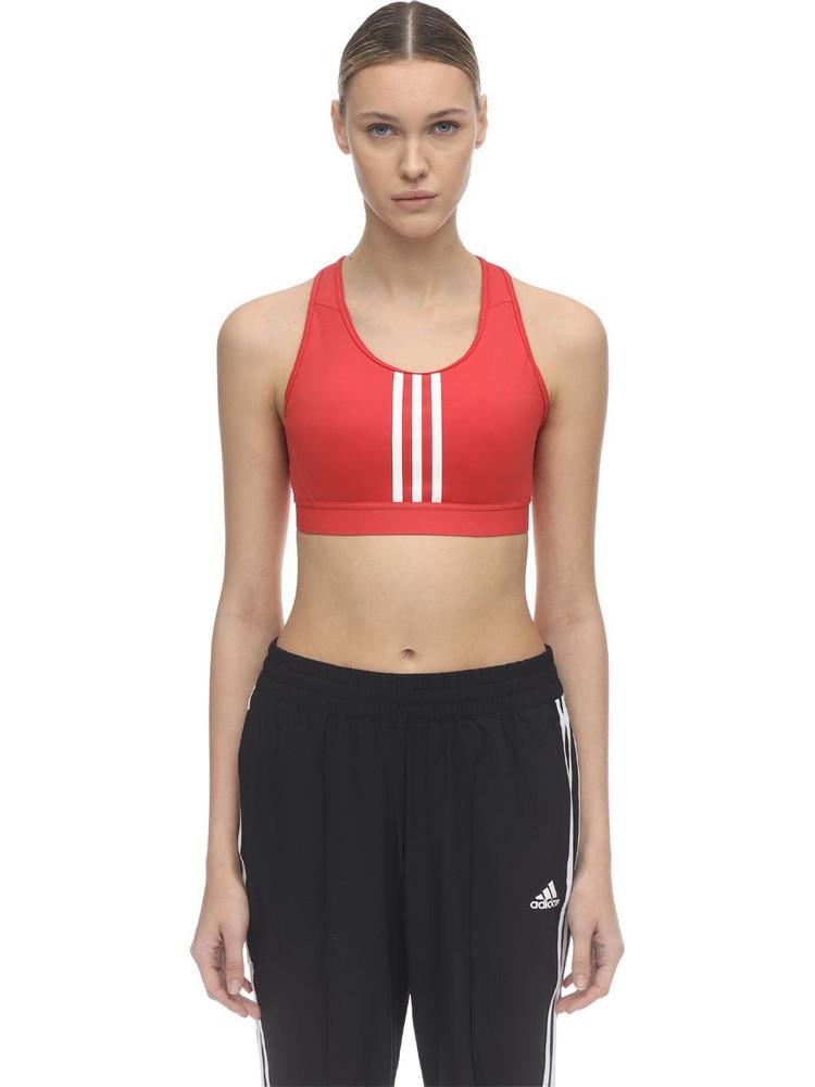 ADIDAS PERFORMANCE Stretch Nylon 3 Stripe Bra Top in red