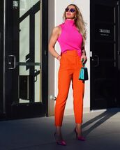 pants,high waisted pants,orange,pumps,turtleneck,handbag
