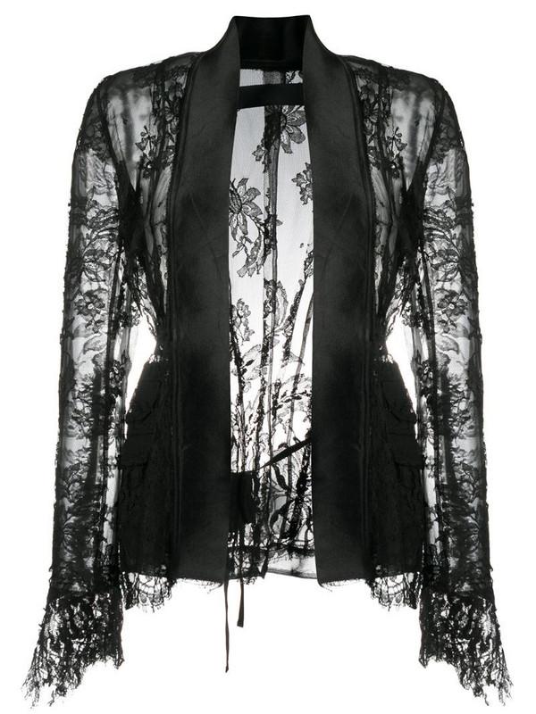 Marc Le Bihan sheer lace cardigan in black