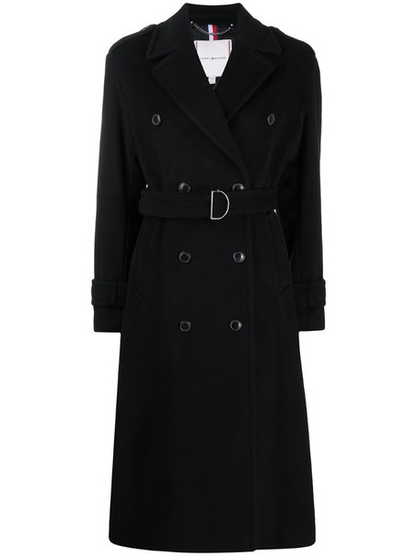 Tommy Hilfiger belted double-breasted coat in black