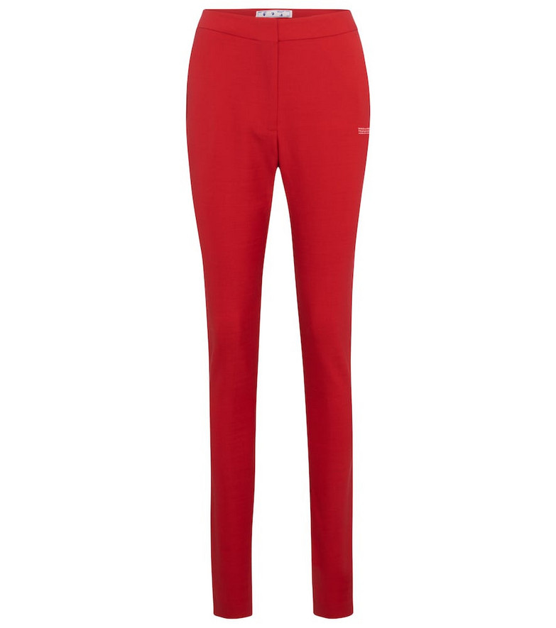Off-White High-rise slim pants in red