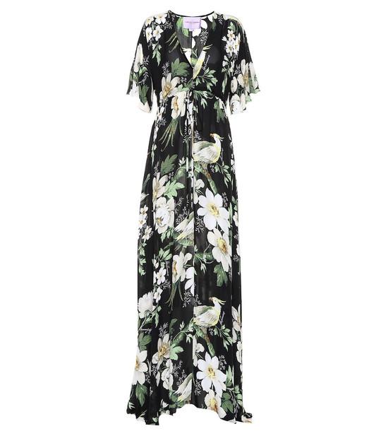 Carolina Herrera Floral silk dress in black