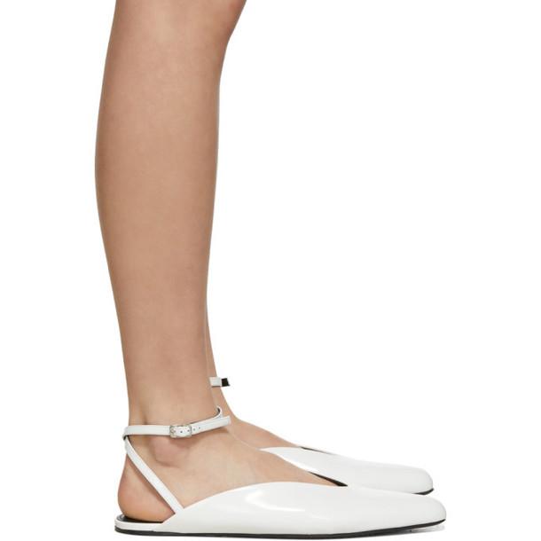 Balenciaga White Patent Ballerina Flats