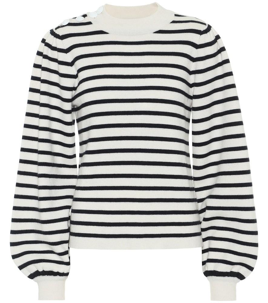 Ganni Wool-blend striped sweater in white