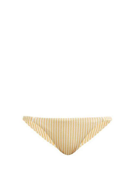 Asceno - Striped Technical Seersucker Bikini Briefs - Womens - Yellow White
