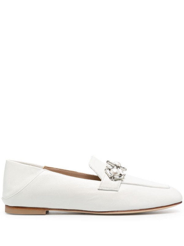 Stuart Weitzman slip-on leather loafers in white