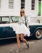 dress,mini dress,white dress,sleeveless dress,h&m,top,long sleeves,sneakers,black bag