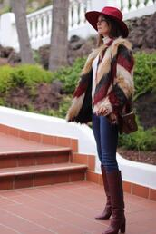 marilyn's closet blog,blogger,jeans,shoes,jewels,bag,faux fur jacket,spring outfits,knee high boots
