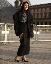 shoes,slingbacks,chanel,plaid skirt,maxi skirt,high waisted skirt,turtleneck,oversized coat