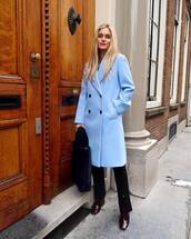 coat,blue coat,double breasted,red boots,ankle boots,black pants,slit pants,furry bag,shoulder bag