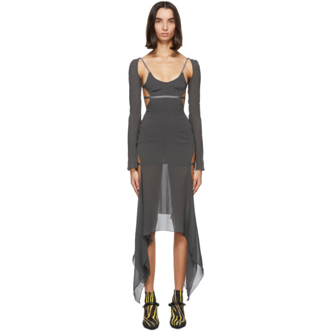Charlotte Knowles SSENSE Exclusive Grey Vyper Dress in charcoal