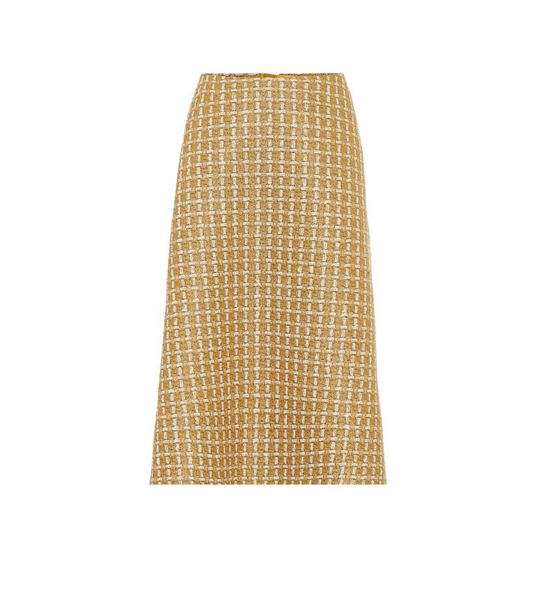 Balenciaga Wool-blend tweed midi skirt in yellow