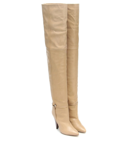 Isabel Marant Lage leather over-the-knee boots in beige