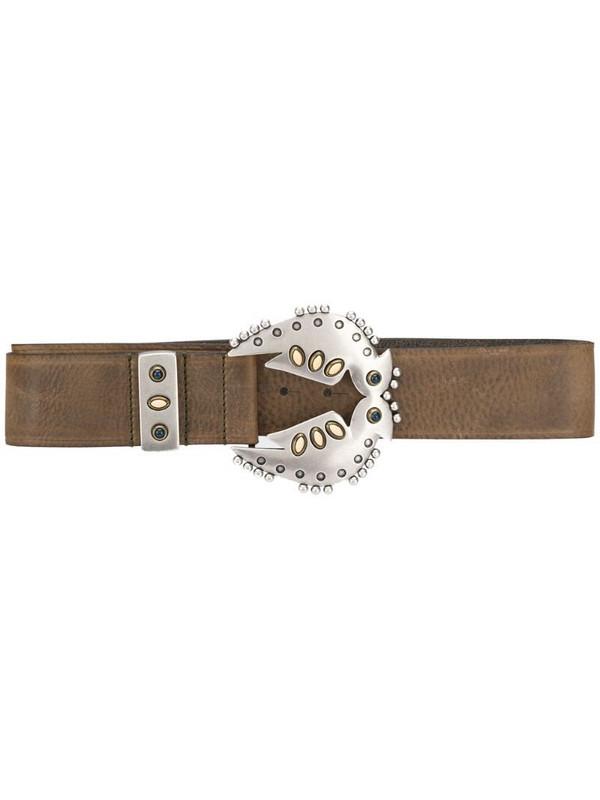 Isabel Marant Abigail embellished leather belt in brown