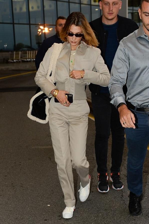 jacket pants top bella hadid model off-duty fashion week