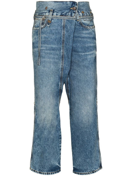 R13 Staley crossover jeans in blue