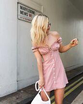 dress,mini dress,plaid dress,off the shoulder dress,pink dress,white bag