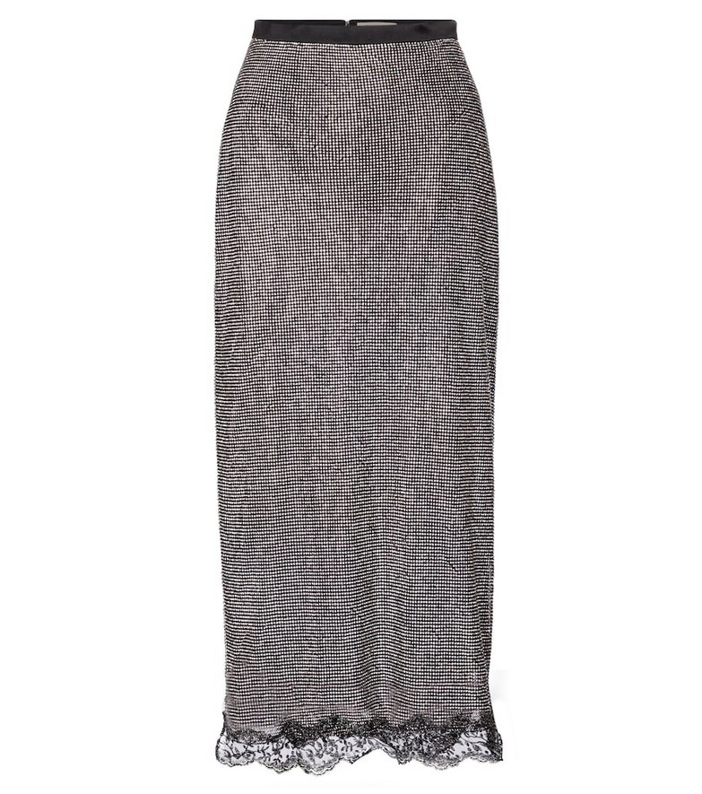 Christopher Kane Crystal mesh midi skirt in black
