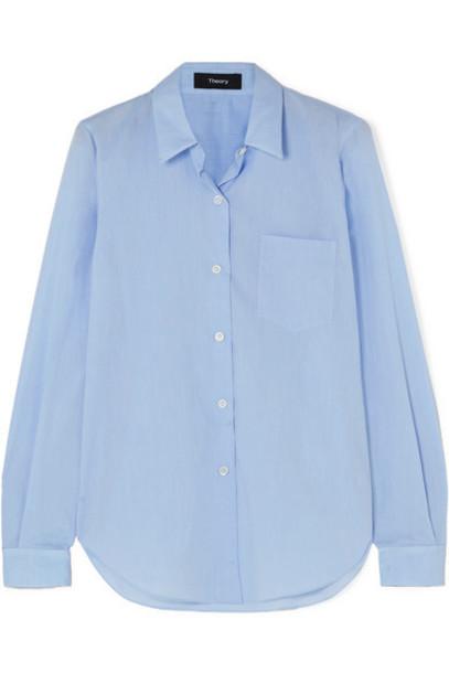 Theory - Perfect Cotton Shirt - Light blue