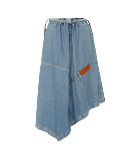 Loewe Asymmetric denim skirt in blue