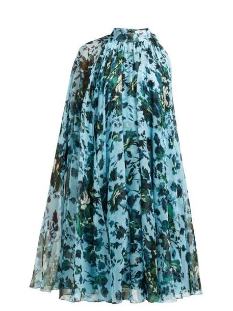 Erdem - Brigitta Fitzy Rose Print Silk Voile Cape Dress - Womens - Blue Multi