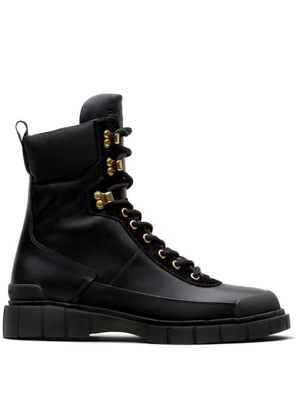Car Shoe lace-up combat boots in black