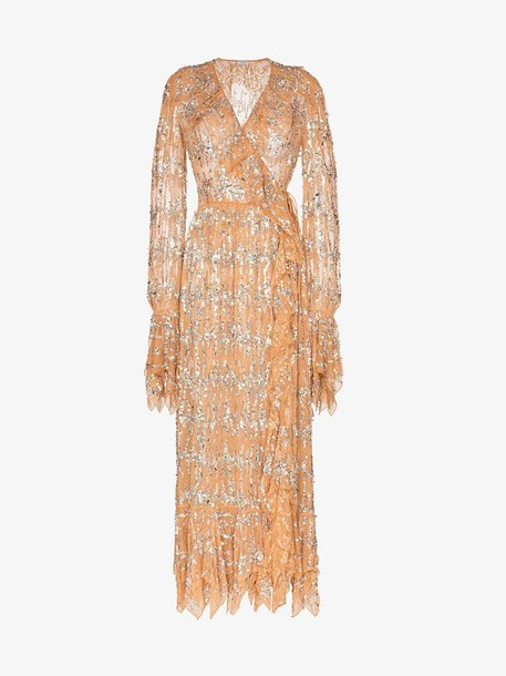 Ashish sequin embellished wrap dress in neutrals