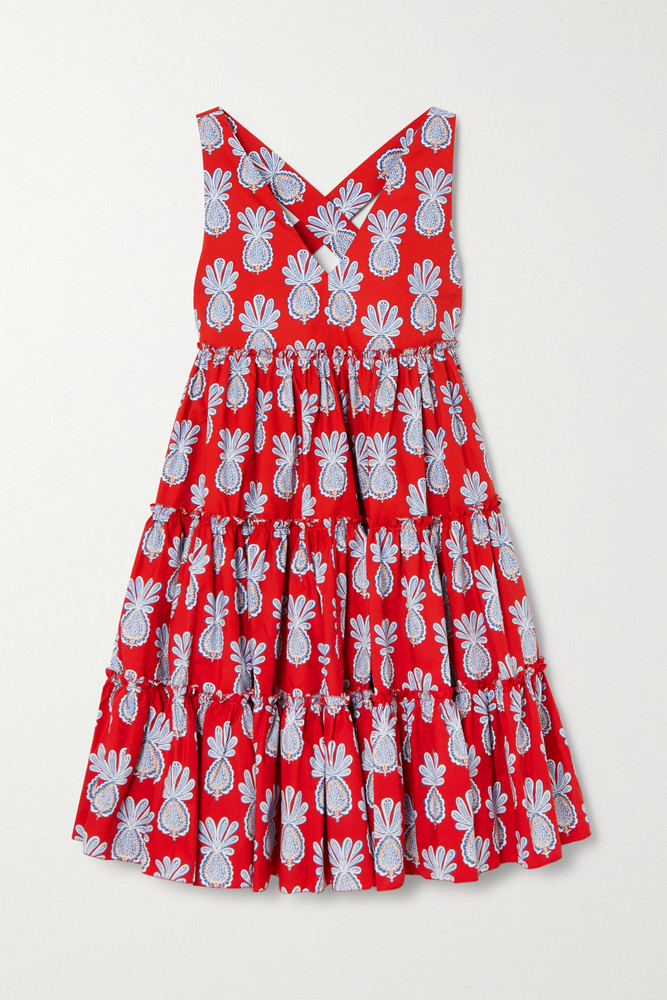 La Double J - Tiered Printed Cotton-poplin Mini Dress - x large in red