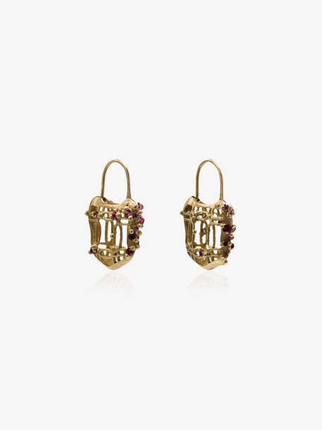 Polly Wales 18K gold and pink sapphire padlock earrings