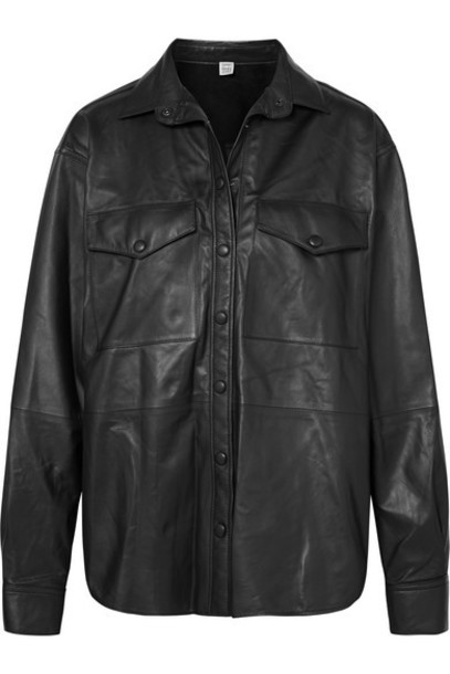Totême - Novella Leather Shirt - Gray