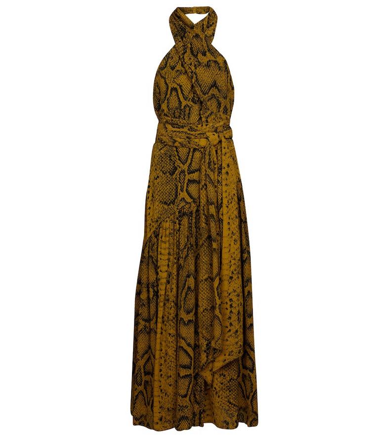 Proenza Schouler Snake-print crêpe midi dress in brown