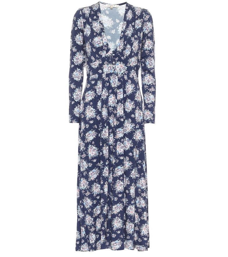 LoveShackFancy Min floral midi dress in blue
