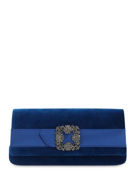 MANOLO BLAHNIK Gothisi Velvet & Satin Clutch in blue
