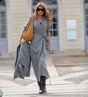 dress,wrap dress,midi dress,grey dress,black boots,bag,blazer