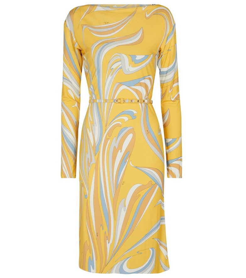 Emilio Pucci Long-sleeved printed midi dress in yellow