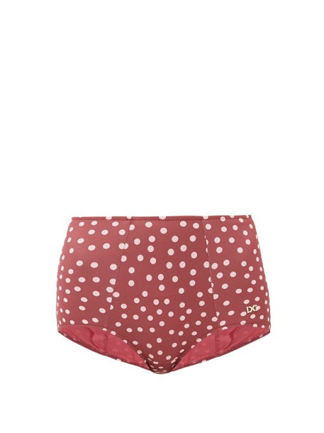 Dolce & Gabbana - Polka-dot High-rise Bikini Briefs - Womens - Burgundy Print