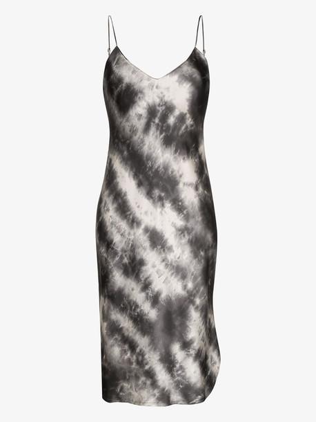 Nili Lotan tie-dye silk midi dress in grey