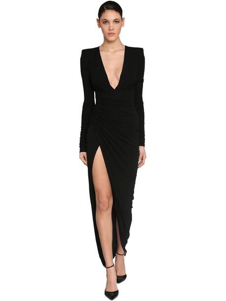 ALEXANDRE VAUTHIER Long V Neck Draped Stretch Jersey Dress in black