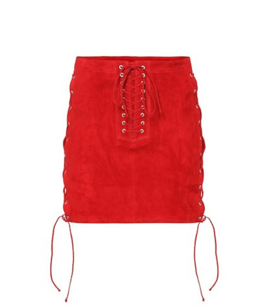 Unravel Lace-up suede miniskirt in red