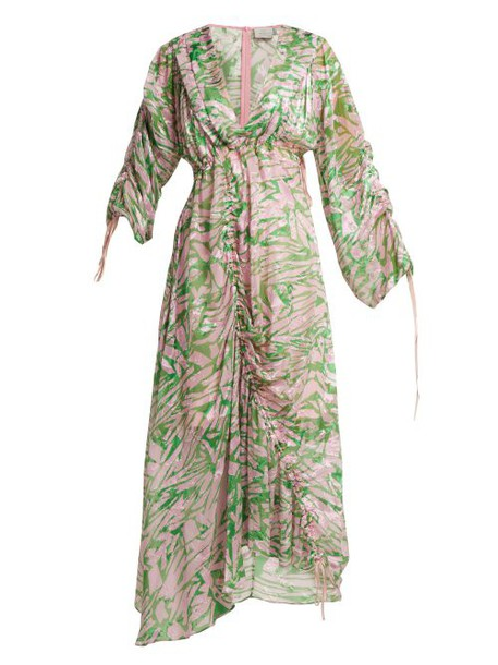 Preen By Thornton Bregazzi - Cleo Silk Blend Midi Dress - Womens - Pink Multi
