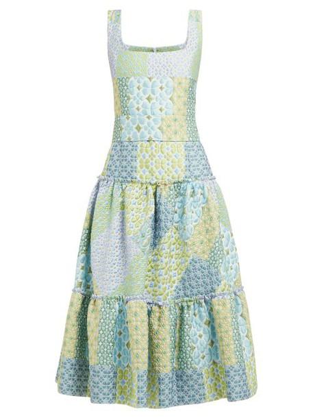 Luisa Beccaria - Tiered Cloqué Midi Dress - Womens - Blue Print