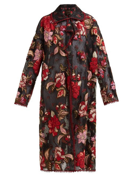Biyan - Rolette Reversible Floral Embroidered Tulle Coat - Womens - Black Red
