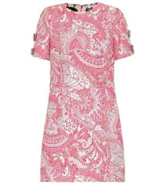 Dolce & Gabbana Metallic silk-blend jacquard dress in pink