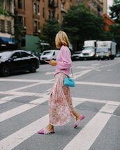 skirt,maxi skirt,floral skirt,mules,sweater,blue bag
